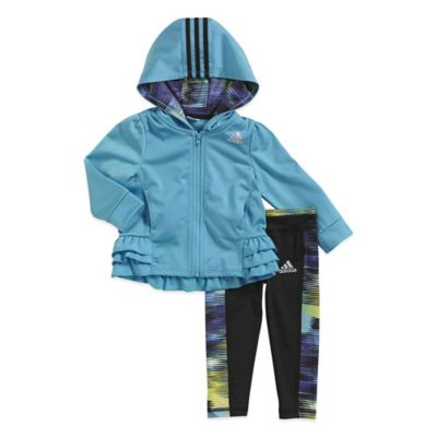 adidas® Size 3M 2-Piece Pirouette Tricot Track Suit Set in Blue/Black