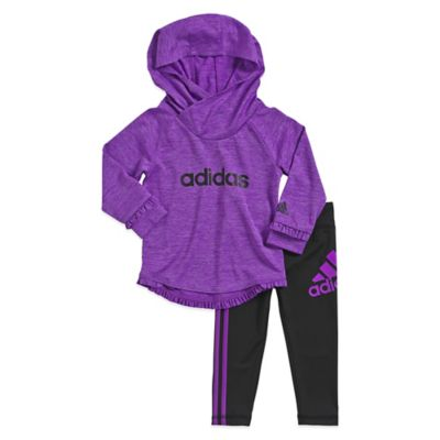 adidas® Size 3T 2-Piece Fast Flash Hoodie and Pant Set in Purple/Black