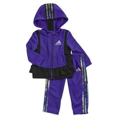adidas® 2-Piece Size 3M Twirl Fleece Tracksuit Set in Purple/Black