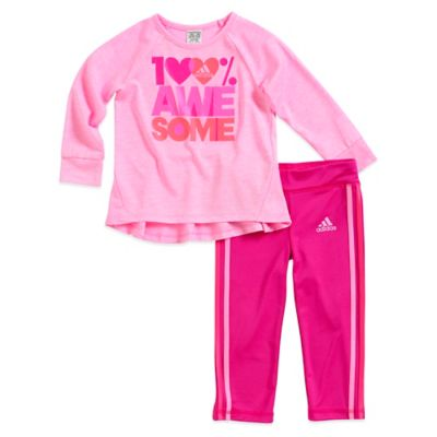 "adidas® Size 6M 2-Piece ""100% Awesome"" Long Sleeve T-Shirt and Track Pant Set in Pink"