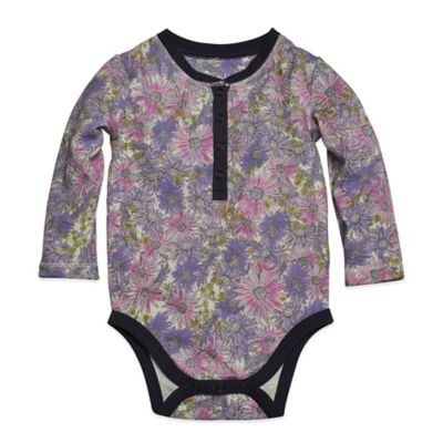 Burt's Bees Baby™ Size 3-6M Organic Cotton Henley Bodysuit in Watercolor Floral