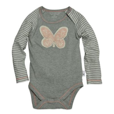 Burt's Bees Baby™ Size 3-6M Organic Cotton Long Sleeve Butterfly Bodysuit in Grey/Pink