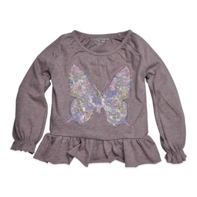 Burt's Bees Baby™ Size 12M Organic Cotton Butterfly Peasant Tee in Grey