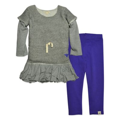 Burt's Bees Baby® Size 4T 2-Piece Organic Cotton Long Sleeve Ruffle Dress Set in Grey/Purple