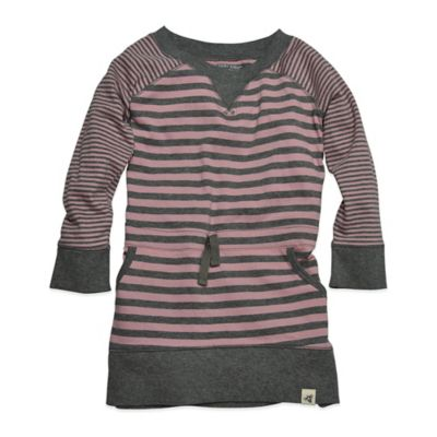 Burt's Bees Baby™ Size 24M Organic Cotton Raglan Striped Dress in Pink and Grey