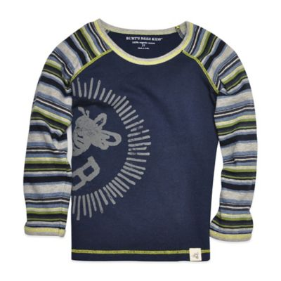 Burt's Bees Baby™ Size 3T Organic Cotton Long-Sleeve Colorblock Shirt in Navy