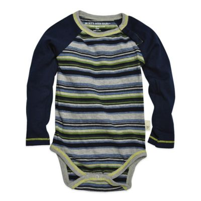 Burt's Bees Baby™ Size 6-9M Organic Cotton Long-Sleeve Variegated Stripe Bodysuit in Navy