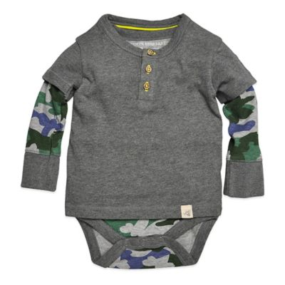Burt's Bees Baby® Size 6-9M Organic Cotton Henley Long Sleeve 2-Fer Bodysuit in Camo