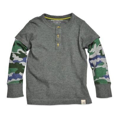 Burt's Bees Baby™ Size 2T Camo-Sleeve Henley Tee in Grey