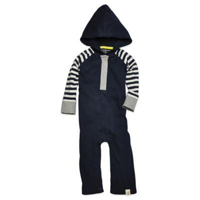 Burt's Bees Baby™ Size 24M Organic Cotton Hooded Colorblock Coverall in Navy