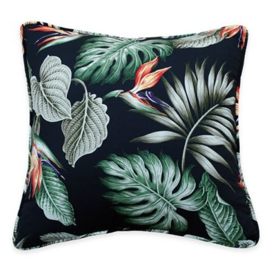 Black Birds of Paradise Square Throw Pillow