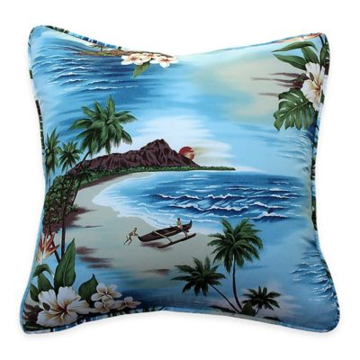 Tropical Island Life Throw Pillow in Blue