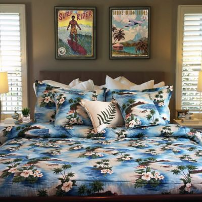 Tropical Island Life Full/Queen Duvet Cover Set in Blue