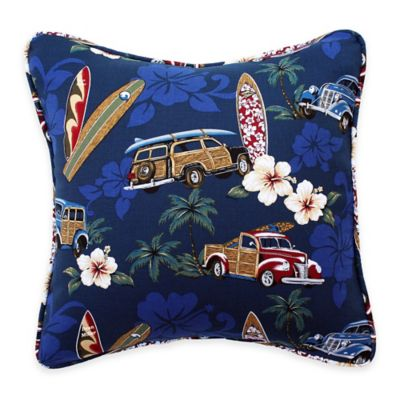 Tradewind Trolly Square Throw Pillow in Blue
