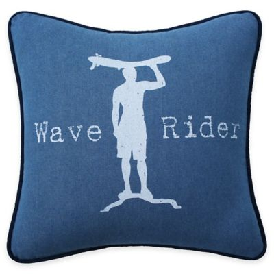 Wave Rider Denim Throw Pillow