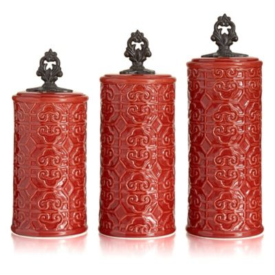 American Atelier 3-Piece Devi Canister Set in Red