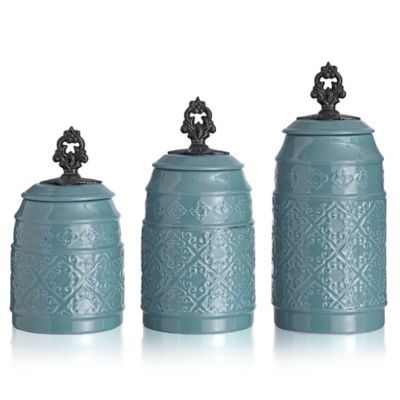 American Atelier 3-Piece Anila Canister Set in White