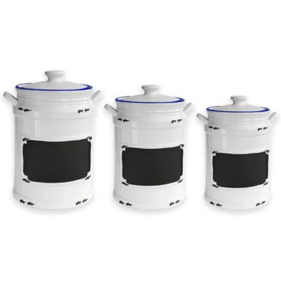 American Atelier Vintage Blue Chalkboard Label 3-Piece Canister Set in White