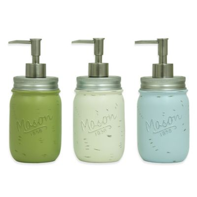 Bacova Resin Mason Jar Kitchen Soap Dispenser in Blue