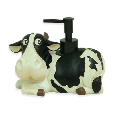 Bacova Resin Sweet Pea the Cow Lotion Dispenser in White/Black