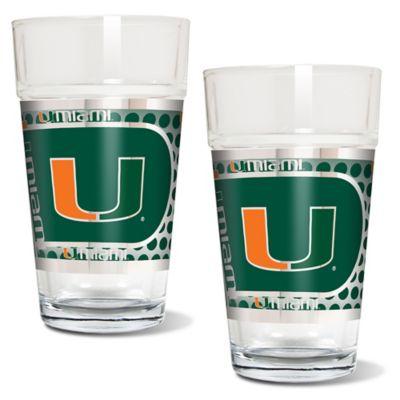 University of Miami Metallic Pint Glass (Set of 2)