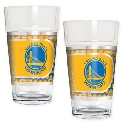 NBA Golden State Warriors Metallic Pint Glass (Set of 2)
