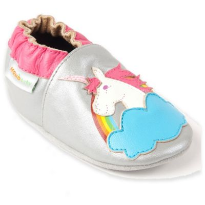MomoBaby Unicorn Rainbow Size 0-6M Leather Soft Sole Shoe in Silver