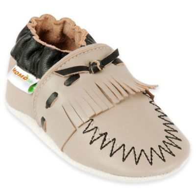 MomoBaby Size 0-6M Moccasin Leather Soft Sole Shoe in Taupe