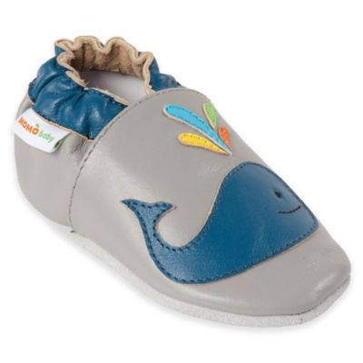 MomoBaby Size 0-6M Whale Leather Soft Sole Shoe in Grey