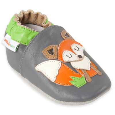 MomoBaby Size 6-12M Fox Leather Soft Sole Shoe in Grey