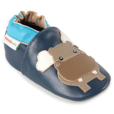 MomoBaby Size 0-6M Hippo Leather Soft Sole Shoe in Navy