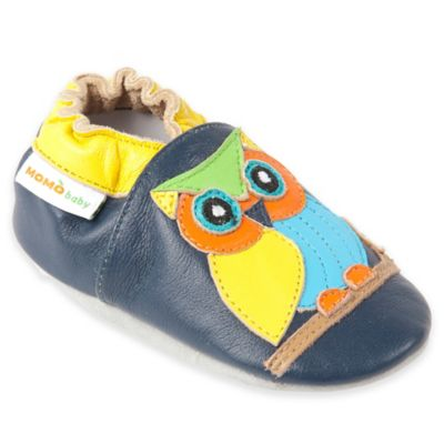 MomoBaby Size 0-6M Owl Leather Soft Sole Shoe in Navy