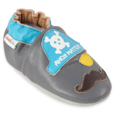 MomoBaby Size 0-6M Ahoy Matey Leather Soft Sole Shoe in Grey