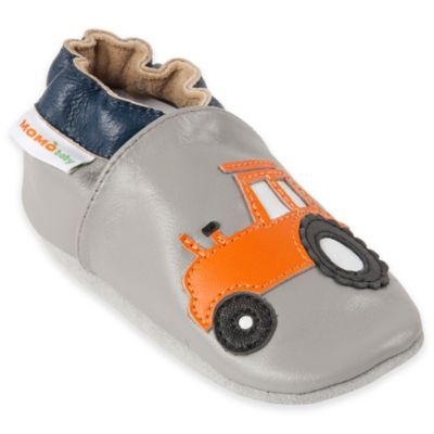 MomoBaby Size 0-6M Tractor Leather Soft Sole Shoe in Grey