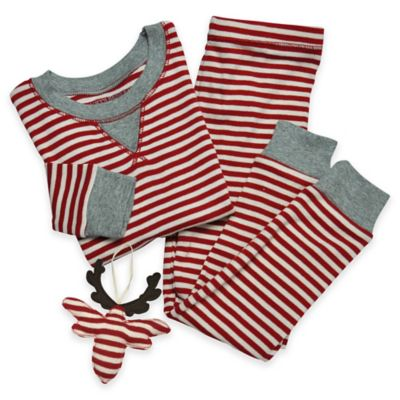 Burt's Bees Baby® Size 4T 3-Piece Candy Cane Pajama and Ornament Set in Red