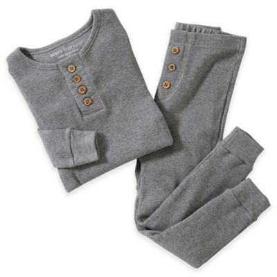 Burt's Bees Baby® Size 18M 2-Piece Long-Sleeve Henley Pajama Set in Grey