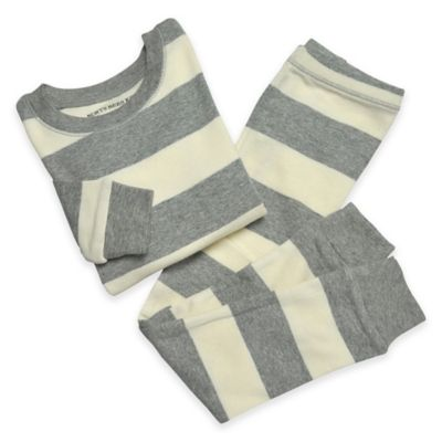 Burt's Bees Baby® Size 4T 2-Piece Organic Cotton Rugby Stripe Pajama Set in Grey