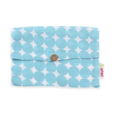 Minene Supersize Circles Print Cotton Muslin Swaddle in Light Blue