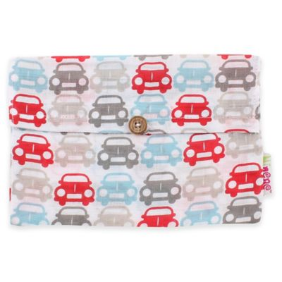 Minene Supersize Cars Print Cotton Muslin Swaddle in Red/Grey