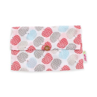 Minene Supersize Apples Print Cotton Muslin Swaddle in Red/Grey/Blue