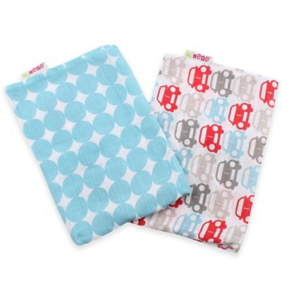 Minene 2-Pack Supersize Cotton Muslin Swaddles in Light Blue