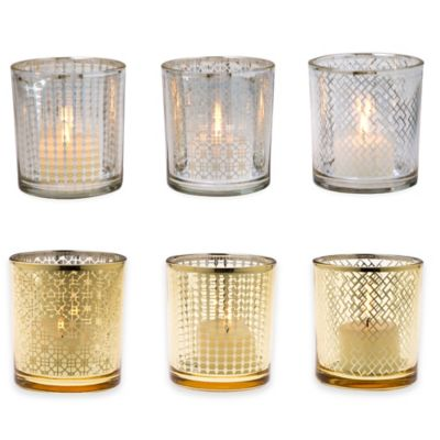 Home Essentials & Beyond Tealight Holders in Silver (Set of 3)