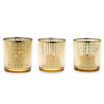 Home Essentials & Beyond Tealight Holders in Gold (Set of 3)