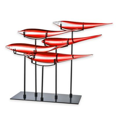 Dale Tiffany™ 5 Fish Art Glass Sculpture in Red