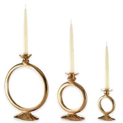 Lunares™ Totem Small O Candle Holder in Gold