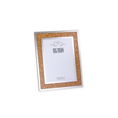 Oleg Cassini Crystal Diamond 5-Inch x 7-Inch Picture Frame in Gold