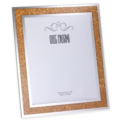 Oleg Cassini Crystal Diamond 8-Inch x 10-Inch Picture Frame in Gold