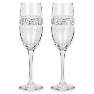Shimmering Wines® by Stemware Designs Champagne Flute in Silver (Set of 2)