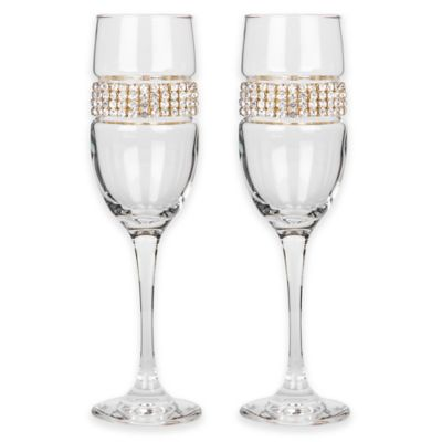 Shimmering Wines® by Stemware Designs Champagne Flute in Gold (Set of 2)