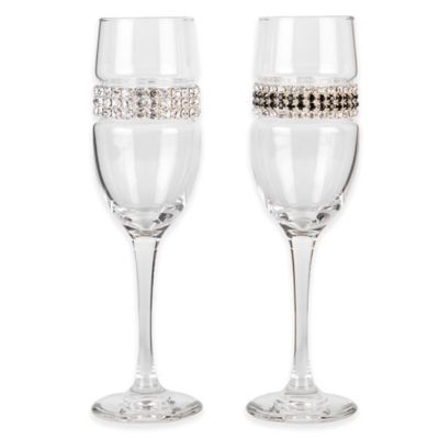 Shimmering Wines® by Stemware Designs Champagne Flute in Silver/Black Tie (Set of 2)